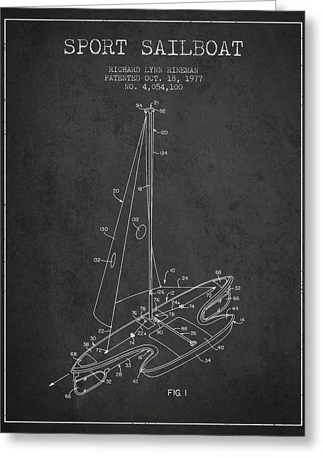 Sailboat Art Greeting Cards - Sport Sailboat Patent from 1977 - Dark Greeting Card by Aged Pixel