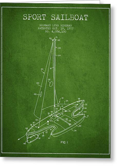 Sailboat Art Greeting Cards - Sport Sailboat Patent from 1977 - Green Greeting Card by Aged Pixel