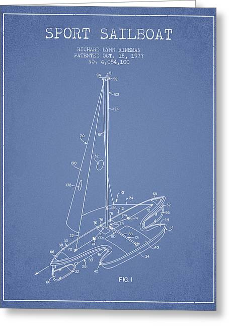 Sailboat Art Greeting Cards - Sport Sailboat Patent from 1977 - Light Blue Greeting Card by Aged Pixel
