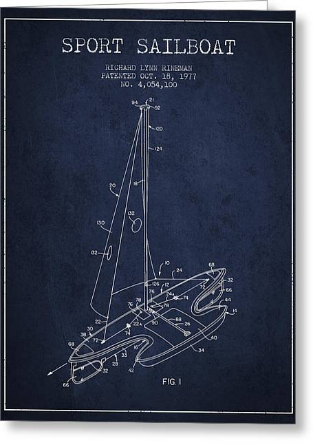 Sailboat Art Greeting Cards - Sport Sailboat Patent from 1977 - Navy Blue Greeting Card by Aged Pixel