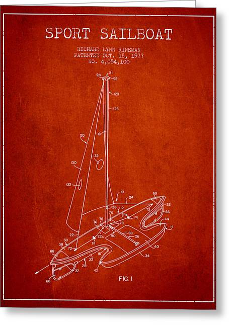 Sailboat Art Greeting Cards - Sport Sailboat Patent from 1977 - Red Greeting Card by Aged Pixel