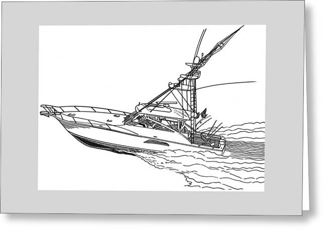 Lifestyle Drawings Greeting Cards - Sportfishing Yacht Greeting Card by Jack Pumphrey