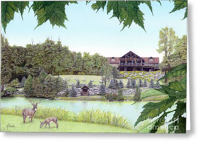 Spring Scenes Drawings Greeting Cards - Sporting Clays at Seven Springs Mountain Resort Greeting Card by Albert Puskaric