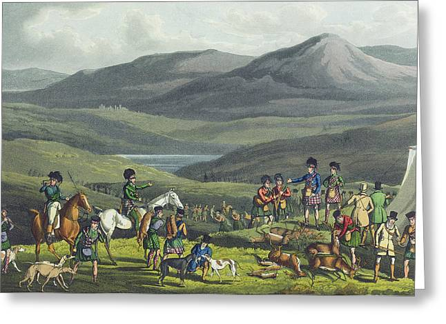 Kilt Greeting Cards - Sporting Meeting In The Highlands Greeting Card by Henry Thomas Alken