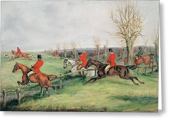 Horse Rider Greeting Cards - Sporting Scene, 19th Century Greeting Card by Henry Thomas Alken