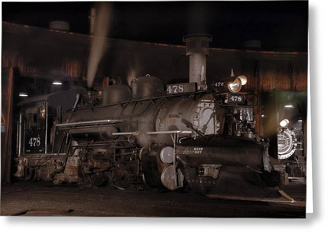 Engine House Greeting Cards - Sportmodel K28 in Durango Roundhouse Greeting Card by Ken Smith