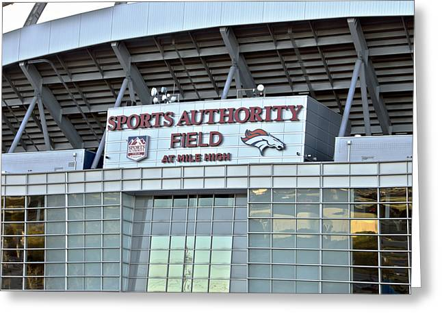 Broncos Mixed Media Greeting Cards - Sports Authority Field At Mile High Greeting Card by Angelina Vick