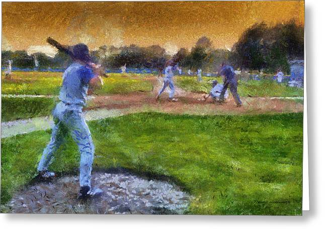 Baseball Uniform Greeting Cards - Sports Baseball On Deck Photo Art Greeting Card by Thomas Woolworth