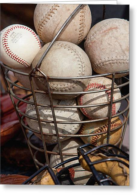 Softball Mitt Greeting Cards - Sports - Baseballs and Softballs Greeting Card by Art Block Collections
