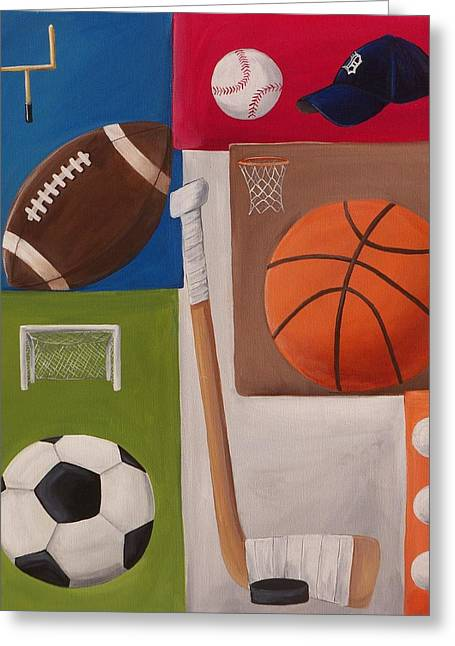 Puck Paintings Greeting Cards - Sports Collage Greeting Card by Tracie Davis