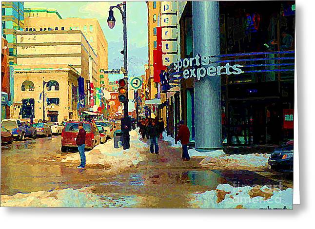 St.catherine Street Greeting Cards - Sports Experts Clothing Footwear St Catherine Mansfield Downtown Montreal City Scene C Spandau Greeting Card by Carole Spandau