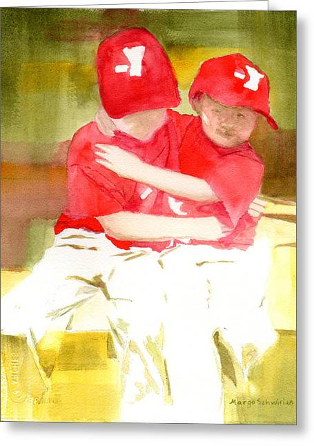 Baseball Paintings Greeting Cards - Sports Greeting Card by Margo Schwirian