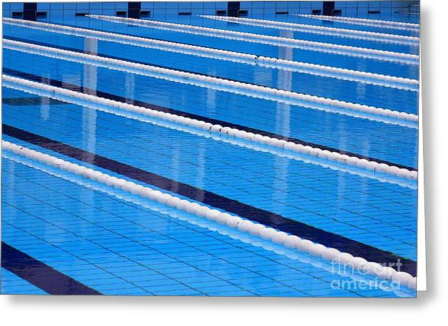 Empty Pool Greeting Cards - Sports Swimming Pool Greeting Card by Yali Shi