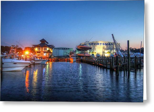 Crimson Tide Greeting Cards - Sportsman Marina Greeting Card by Michael Thomas