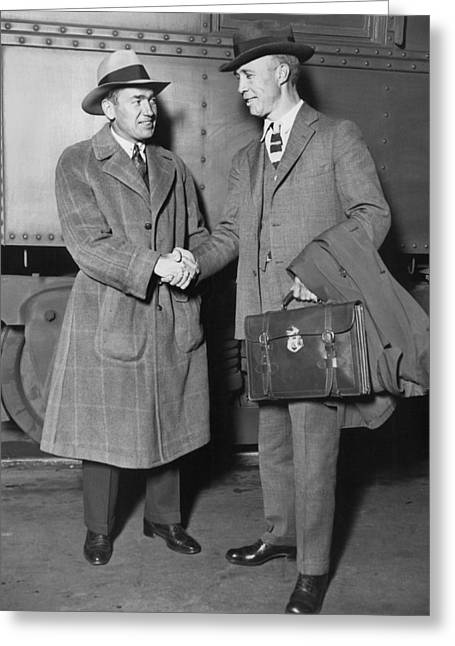 Shaking Hands Greeting Cards - Sportsmen In Chicago Station Greeting Card by Underwood Archives