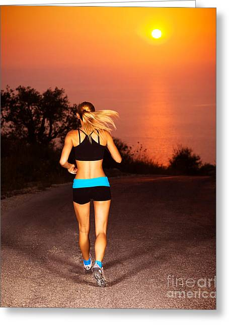 Sprinter Greeting Cards - Sporty runner female Greeting Card by Anna Omelchenko
