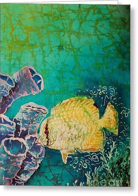 Aquatic Tapestries - Textiles Greeting Cards - Spotfin Butterflyfish  Greeting Card by Sue Duda