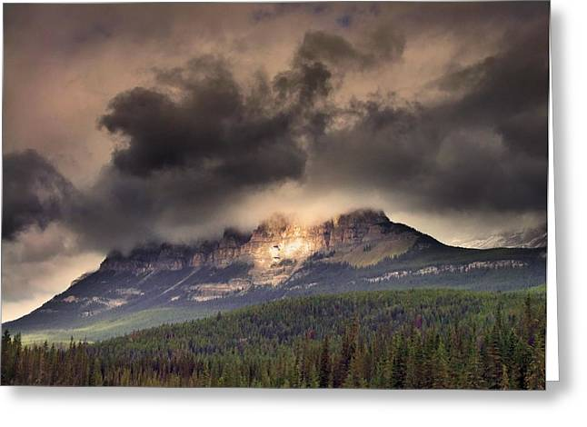 George Cousins Greeting Cards - Spotlight on Castle Mountain Greeting Card by George Cousins