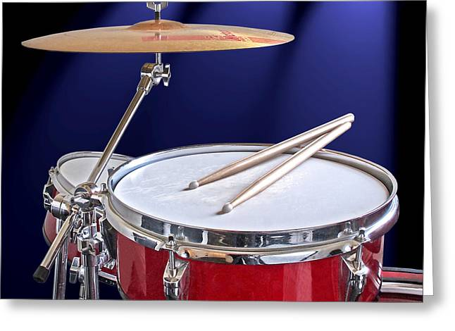 Spotlight On Drums Greeting Card by Gill Billington