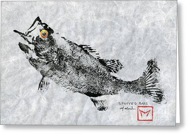 Bass Fish Mixed Media Greeting Cards - Spotted Bass Gyotaku Greeting Card by Matt Monahan