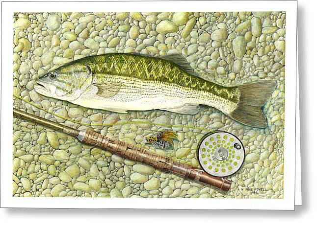 Fishing Rods Drawings Greeting Cards - Spotted Bass Greeting Card by Mike Howell