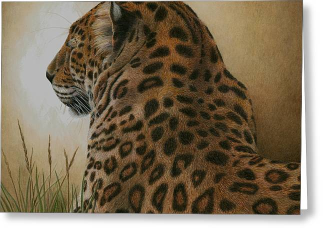 Wild Cats Paintings Greeting Cards - Spotted Elegance Greeting Card by Pat Erickson