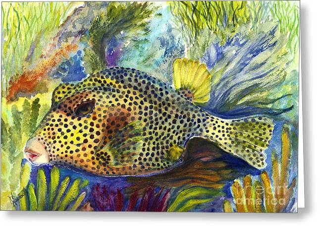 Reef Fish Drawings Greeting Cards - Spotted Trunkfish Greeting Card by Carol Wisniewski