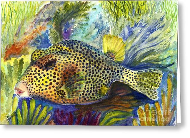 Sealife Posters Greeting Cards - Spotted Trunkfish Greeting Card by Carol Wisniewski