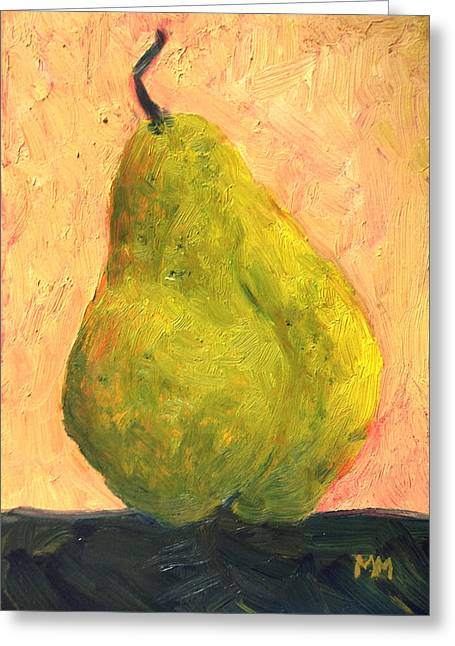 Marie-louise Paintings Greeting Cards - Spotted Yellow Pear Greeting Card by Marie-louise McHugh
