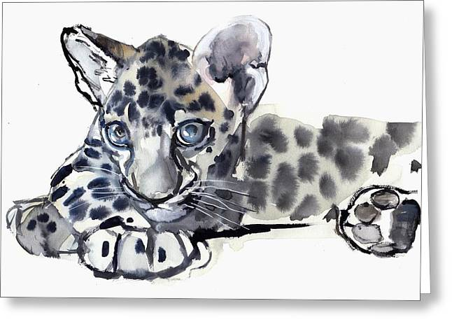 Watercolor On Paper Greeting Cards - Spotty Greeting Card by Mark Adlington