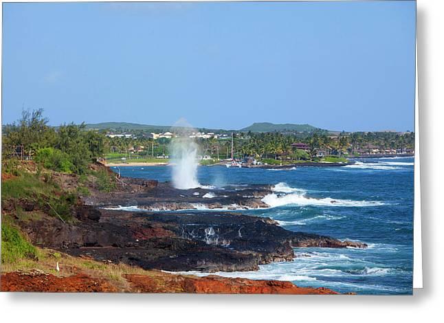 Spouting Horn, Poipu, Kauai, Hawaii Greeting Card by Douglas Peebles