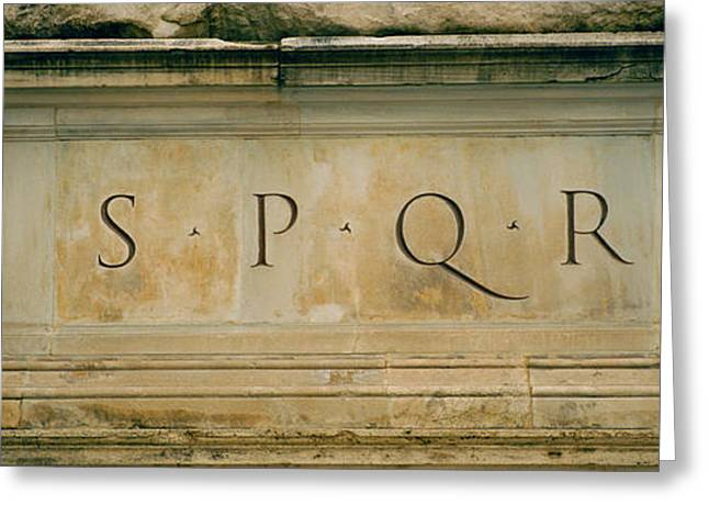 Italian Culture Greeting Cards - Spqr Text Carved On The Stone, Piazza Greeting Card by Panoramic Images