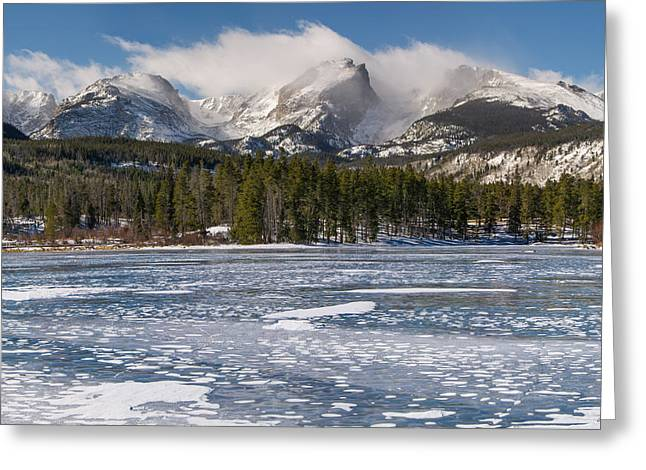 Sprague Greeting Cards - Sprague Lake Winter Greeting Card by Aaron Spong
