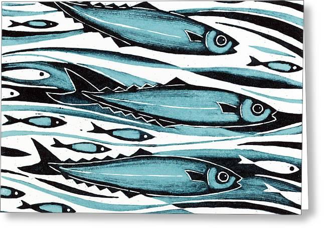Swimming Fish Greeting Cards - Sprats Greeting Card by Nat Morley