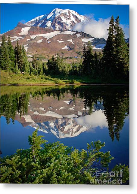 Hike Greeting Cards - Spray Park Reflection Greeting Card by Inge Johnsson
