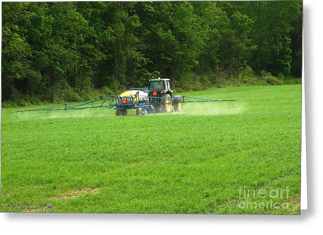 Landscape Posters Greeting Cards - Spraying the Field in June Greeting Card by J McCombie