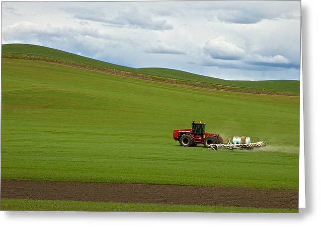 Spraying The Fields Greeting Card by Mary Lee Dereske