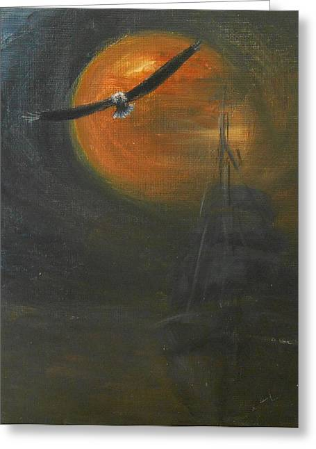 Sea Moon Full Moon Greeting Cards - Spread Your Wings Greeting Card by Jane See