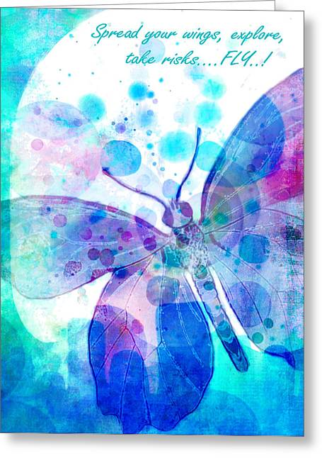 Digital Watercolors Greeting Cards - Spread Your Wings Greeting Card by Robin Mead