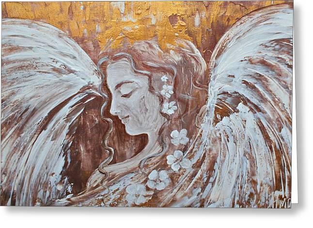 Winged Goddess Mixed Media Greeting Cards - Spreading Light Greeting Card by Alma Yamazaki