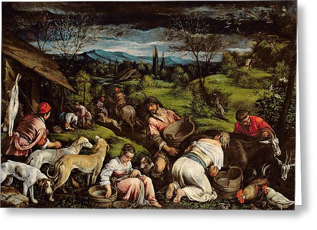 Greyhound Greeting Cards - Spring, 1576 Greeting Card by Francesco Bassano