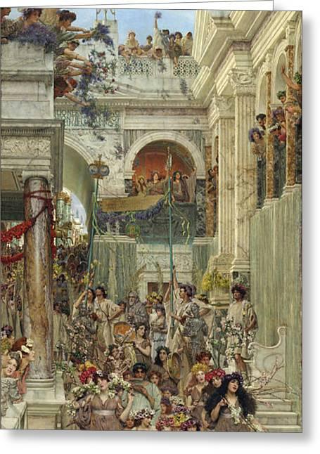Spring Greeting Card by Sir Lawrence Alma-Tadema