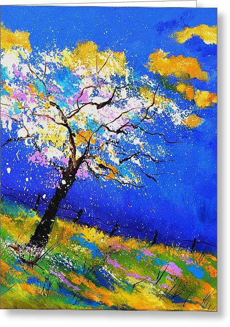 Wooden Ship Paintings Greeting Cards - Spring 563140 Greeting Card by Pol Ledent
