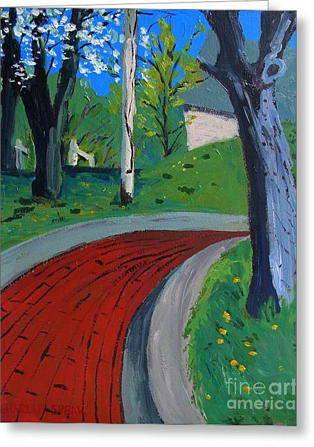 Spring Street Greeting Cards - Spring Above Spring Street Red Brick Road Greeting Card by Charlie Spear