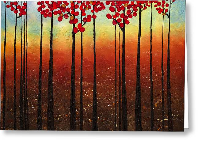 Recently Sold -  - Red Abstracts Greeting Cards - Spring Ahead Greeting Card by Carmen Guedez