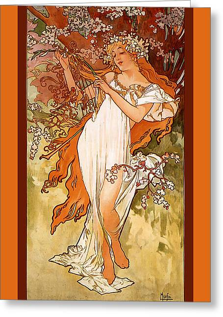 Woman In A Dress Greeting Cards - Spring Greeting Card by Alphonse Maria Mucha
