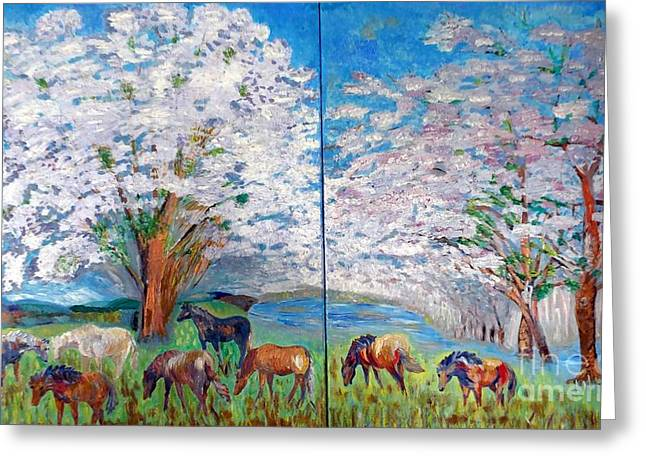 Blossom Reliefs Greeting Cards - Spring and Horses Greeting Card by Vicky Tarcau