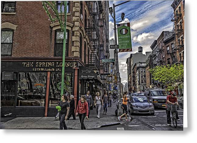Madeline Ellis Greeting Cards - Spring and Mulberry - Street Scene - NYC Greeting Card by Madeline Ellis