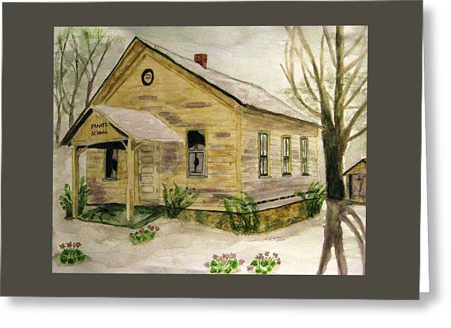 One Room School Houses Paintings Greeting Cards - Spring At Frantz School Greeting Card by Angela Davies