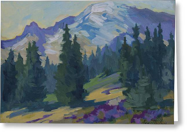 Pacific Northwest Paintings Greeting Cards - Spring at Mount Rainier Greeting Card by Diane McClary